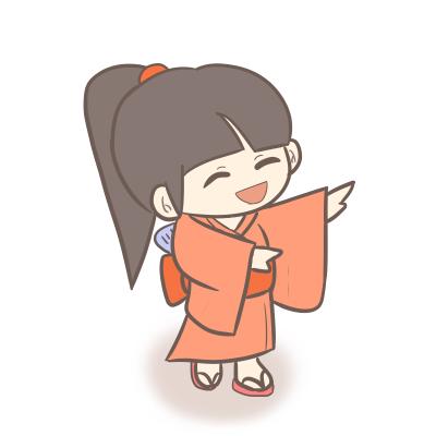 盆踊りを踊る女の子のイラスト
