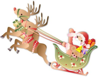 クリスマスプレゼントを赤鼻のトナカイのソリで運ぶサンタさんのイラスト