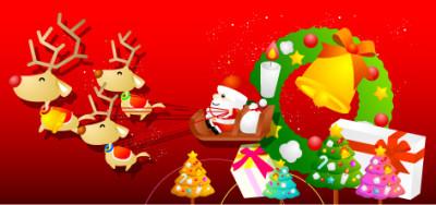 サンタさんとプレゼント、ベルの背景。